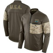 Wholesale Cheap Men's Carolina Panthers Nike Olive Salute to Service Sideline Hybrid Half-Zip Pullover Jacket