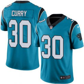 Wholesale Cheap Nike Panthers #30 Stephen Curry Blue Men\'s Stitched NFL Limited Rush Jersey