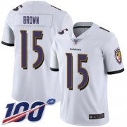 Wholesale Cheap Nike Ravens #15 Marquise Brown White Men's Stitched NFL 100th Season Vapor Limited Jersey