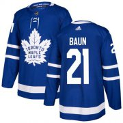 Wholesale Cheap Adidas Maple Leafs #21 Bobby Baun Blue Home Authentic Stitched NHL Jersey