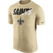 Wholesale Cheap Men's New Orleans Saints Nike Gold Legend Staff Practice Performance T-Shirt