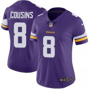 Wholesale Cheap Nike Vikings #8 Kirk Cousins Purple Team Color Women's Stitched NFL Vapor Untouchable Limited Jersey