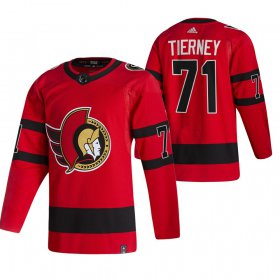 Wholesale Cheap Ottawa Senators #71 Chris Tierney Red Men\'s Adidas 2020-21 Reverse Retro Alternate NHL Jersey