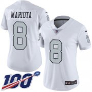 Wholesale Cheap Nike Raiders #8 Marcus Mariota White Women's Stitched NFL Limited Rush 100th Season Jersey