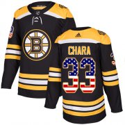 Wholesale Cheap Adidas Bruins #33 Zdeno Chara Black Home Authentic USA Flag Youth Stitched NHL Jersey