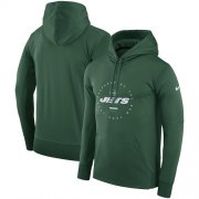 Wholesale Cheap Men's New York Jets Nike Green Sideline Property Of Wordmark Logo Performance Pullover Hoodie