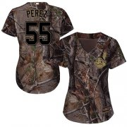 Wholesale Cheap Indians #55 Roberto Perez Camo Realtree Collection Cool Base Women's Stitched MLB Jersey