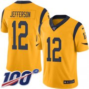 Wholesale Cheap Nike Rams #12 Van Jefferson Gold Men's Stitched NFL Limited Rush 100th Season Jersey