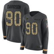Wholesale Cheap Nike Falcons #90 Marlon Davidson Anthracite Salute to Service Women's Stitched NFL Limited Therma Long Sleeve Jersey