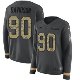 Wholesale Cheap Nike Falcons #90 Marlon Davidson Anthracite Salute to Service Women\'s Stitched NFL Limited Therma Long Sleeve Jersey