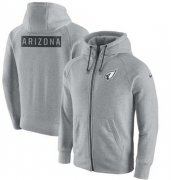 Wholesale Cheap Men's Arizona Cardinals Nike Ash Gridiron Gray 2.0 Full-Zip Hoodie