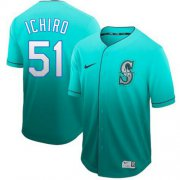 Wholesale Cheap Nike Mariners #51 Ichiro Suzuki Green Fade Authentic Stitched MLB Jersey