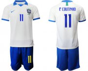 Wholesale Cheap Brazil #11 P.Coutinho White Soccer Country Jersey
