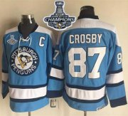 Wholesale Cheap Penguins #87 Sidney Crosby Blue Alternate CCM Throwback 2017 Stanley Cup Finals Champions Stitched NHL Jersey