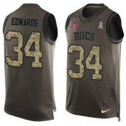 Wholesale Cheap Nike Buccaneers #34 Mike Edwards Green Men's Stitched NFL Limited Salute To Service Tank Top Jersey