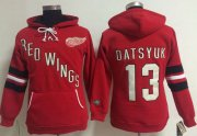 Wholesale Cheap Detroit Red Wings #13 Pavel Datsyuk Red Women's Old Time Heidi NHL Hoodie