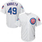 Wholesale Cheap Cubs #49 Jake Arrieta White Strip New Cool Base with 100 Years at Wrigley Field Commemorative Patch Stitched MLB Jersey