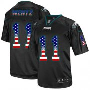 Wholesale Cheap Nike Eagles #11 Carson Wentz Black Men's Stitched NFL Elite USA Flag Fashion Jersey