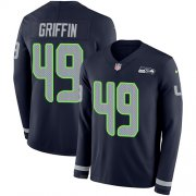 Wholesale Cheap Nike Seahawks #49 Shaquem Griffin Steel Blue Team Color Men's Stitched NFL Limited Therma Long Sleeve Jersey