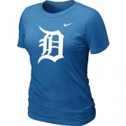 Wholesale Cheap Women's Detroit Tigers Heathered Nike Light Blue Blended T-Shirt