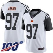 Wholesale Cheap Nike Bengals #97 Geno Atkins White Men's Stitched NFL Limited Rush 100th Season Jersey