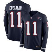 Wholesale Cheap Nike Patriots #11 Julian Edelman Navy Blue Team Color Men's Stitched NFL Limited Therma Long Sleeve Jersey