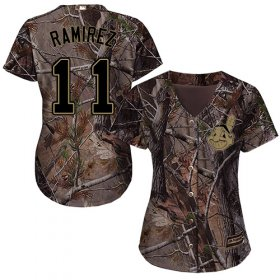 Wholesale Cheap Indians #11 Jose Ramirez Camo Realtree Collection Cool Base Women\'s Stitched MLB Jersey