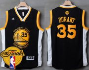 Wholesale Cheap Men's Warriors #35 Kevin Durant Black White 2017 The Finals Patch Stitched NBA Jersey