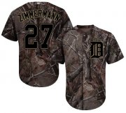 Wholesale Cheap Tigers #27 Jordan Zimmermann Camo Realtree Collection Cool Base Stitched Youth MLB Jersey