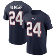 Wholesale Cheap New England Patriots #24 Stephon Gilmore Nike Team Player Name & Number T-Shirt Navy