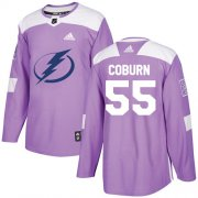 Wholesale Cheap Adidas Lightning #55 Braydon Coburn Purple Authentic Fights Cancer Stitched NHL Jersey