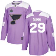 Wholesale Cheap Adidas Blues #29 Vince Dunn Purple Authentic Fights Cancer Stanley Cup Champions Stitched NHL Jersey