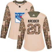 Wholesale Cheap Adidas Rangers #20 Chris Kreider Camo Authentic 2017 Veterans Day Women's Stitched NHL Jersey