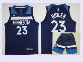 Wholesale Cheap Men\'s Minnesota Timberwolves #23 Jimmy Butler New Navy Blue 2017-2018 Nike Swingman Stitched NBA Jersey With Shorts