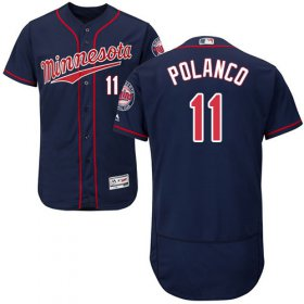 Wholesale Cheap Twins #11 Jorge Polanco Navy Blue Flexbase Authentic Collection Stitched MLB Jersey
