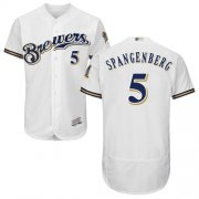 Wholesale Cheap Brewers #5 Cory Spangenberg White Flexbase Authentic Collection Stitched MLB Jersey