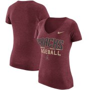 Wholesale Cheap Arizona Diamondbacks Nike Women's Practice 1.7 Tri-Blend V-Neck T-Shirt Heathered Red