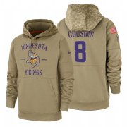 Wholesale Cheap Minnesota Vikings #8 Kirk Cousins Nike Tan 2019 Salute To Service Name & Number Sideline Therma Pullover Hoodie