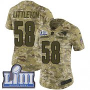 Wholesale Cheap Nike Rams #58 Cory Littleton Camo Super Bowl LIII Bound Women's Stitched NFL Limited 2018 Salute to Service Jersey