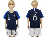 Wholesale Cheap France #6 Pogba Home Kid Soccer Country Jersey