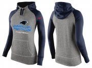 Wholesale Cheap Women's Nike Carolina Panthers Performance Hoodie Grey & Dark Blue