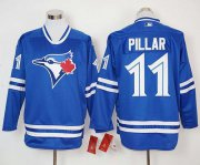 Wholesale Cheap Blue Jays #11 Kevin Pillar Blue Long Sleeve Stitched MLB Jersey