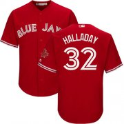 Wholesale Cheap Blue Jays #32 Roy Halladay Red Cool Base Canada Day Stitched Youth MLB Jersey