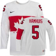 Wholesale Cheap Olympic 2014 CA. #5 Dan Hamhuis White Stitched NHL Jersey
