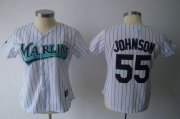 Wholesale Cheap Marlins #55 Josh Johnson White Women's Fashion Stitched MLB Jersey