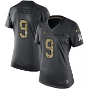 Wholesale Cheap Nike Saints #9 Drew Brees Black Women's Stitched NFL Limited 2016 Salute to Service Jersey