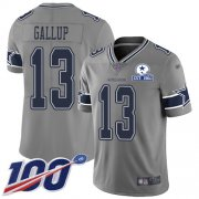 Wholesale Cheap Nike Cowboys #13 Michael Gallup Gray Men's Stitched With Established In 1960 Patch NFL Limited Inverted Legend 100th Season Jersey