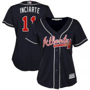 Wholesale Cheap Braves #11 Ender Inciarte Navy Blue Alternate Women's Stitched MLB Jersey