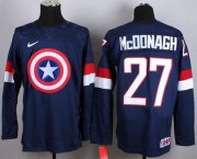 Wholesale Cheap Olympic Team USA #27 Ryan McDonagh Navy Blue Captain America Fashion Stitched NHL Jersey