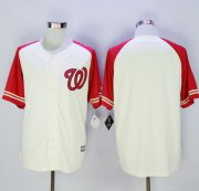 Wholesale Cheap Nationals Blank Cream/Red Exclusive New Cool Base Stitched MLB Jersey